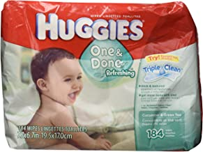 Huggies Naturally Refreshing Thick-N-Clean Baby Wipes, Cucumber and Green Tea, 184 count.