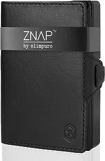 ZNAP Porta Carte di Credito - in Alluminio - Blocco RFID - Pelle Nera - Fino a 6-12 carte - Portafoglio Uomo Slim, Portaca...