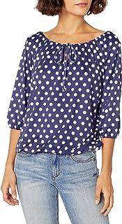 Star Vixen Women's Petite 3/4 Sleeve Tieneck Elasticized Peasant Top