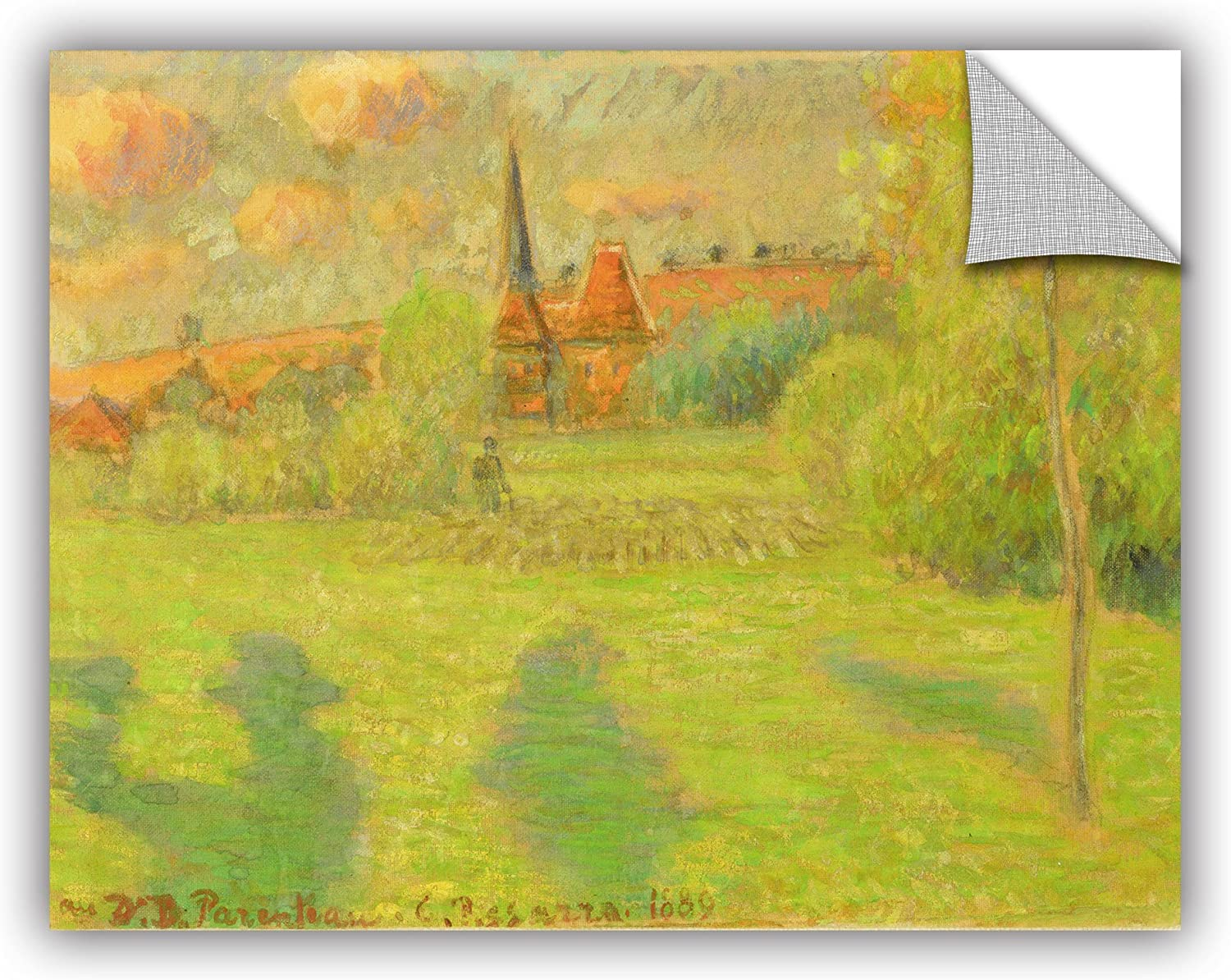 ArtWall Camille Pissarro's The Shepard and The Church of Eragny 1889 Removable Wall Art Mural, 14x18-Inch