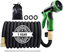 """50Ft Expandable Garden Hose, Extra Strength 3750D Fabric, Triple Latex Core, 3/4"""" Solid Brass Connectors, New 9-Way Durabl..."""