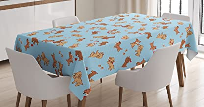 Ambesonne Dog Tablecloth, Checkered Square Pattern Background Playful Puppies Paw Print Golden Retriever Breed, Dining Room Kitchen Rectangular Table Cover, 52
