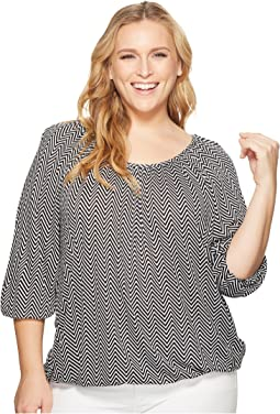 Plus Size Graphic Chevron Scoop Neck Top