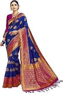 Sarees for Women Banarasi Art Silk Woven Saree l Indian Ethnic Wedding Gift Sari with Unstitched Blouse