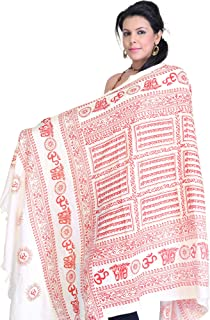 Exotic India Hindu Prayer Shawl with Printed Sri Ram Ja