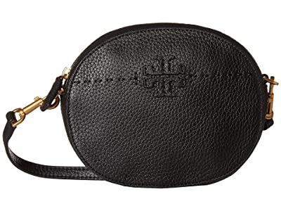 Tory Burch Mcgraw Convertible Round Crossbody (Black) Cross Body Handbags