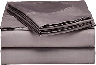 Superior 100% Premium Combed Cotton, 300 Thread Count 4-Piece Bed Sheet Set, Single Ply Cotton, Deep Pocket Fitted Sheets, Soft and Luxurious Bedding Sets - Queen Waterbed, Grey