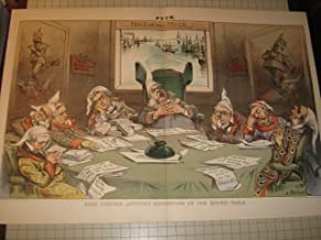 1882 Color Lithograph: King Chester Arthur's Knight(cap)s of the Round Table - Political Satire