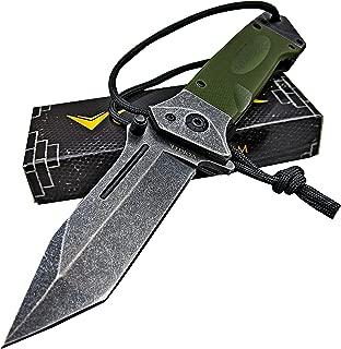 VORTEK Fast One Hand Opening Heavy Duty Tactical Folding Pocket Knife: 8Cr13MoV Razor Sharp Blade - LMF Style Pommel with Lanyard