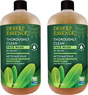 Desert Essence Thoroughly Clean Face Wash - Original - 32 Fl Oz - Pack of 2 -Tea Tree Oil -For Soft Radiant Skin - Gentle Cleanser - Extracts Of Goldenseal, Awapuhi, & Chamomile Essential Oils