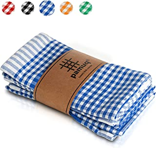 pamuq hochwertige Geschirrtücher Baumwolle - 100% | 5er Set | 45x65cm mit Aufhänger | Vintage Look - kariert | Küchentuch Geschirrhandtuch Baumwolle Trockentuch Küche Torchon blau