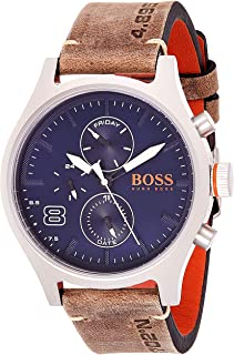 Hugo Boss Men's Analog Quartz Watch with Leather Calfskin Strap 1550021