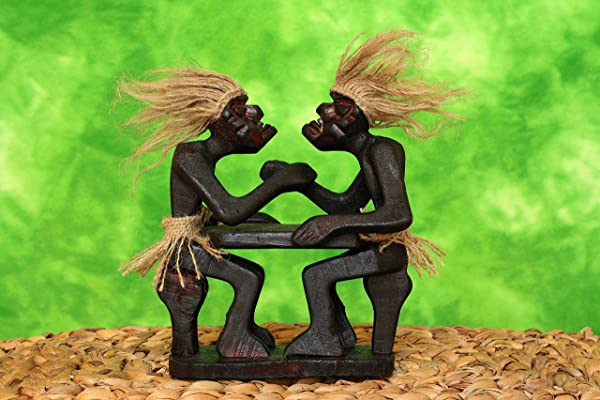 G6 Collection Handmade Wooden Primitive Tribal Funny Statue Two Men Arm Wrestling Sculpture Tiki Bar Handcrafted Unique Gift Art Decorative Decor Accent Figurine Decoration Hand Carved Arm Wrestling