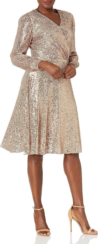Tahari ASL Women's Long Sleeve Sequin Surplus Wrap Dress
