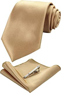 JEMYGINS Solid Color Tie and Pocket Square With Tie Clip Sets for Men