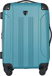 """Travelers Club Luggage Chicago 20"""" Hardside Expandable Carry-on Spinner, Teal"""