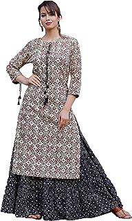 Oxyco Jaipuri cotton hand block Print Kurta Skirt Set for women's,Multicolor