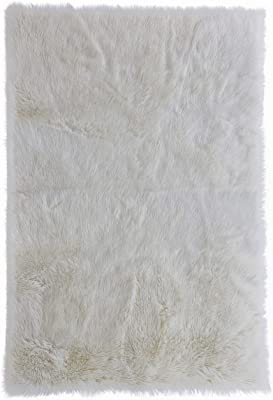Amazon Com Home Decorators Collection Faux Sheepskin Area Rug 5 X8 White Home Kitchen