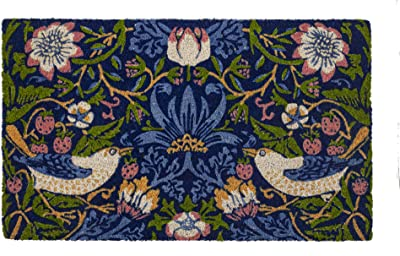 Entryways Victoria and Albert Museum Strawberry Thief Coir Doormat, Multi, 45 x 75