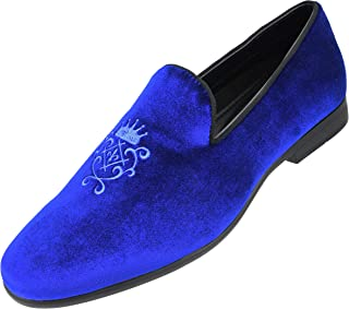 Amali The Original Men's Faux Leather & Velvet Smoking Slipper with Embroidered Embellishment Dress Shoe, Style Makins