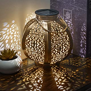 TERESA'S COLLECTIONS Outdoor Solar Hanging Lantern Lights with Baroque Pattern, Waterproof Solar Powered Lantern for Patio Decor (Gold)