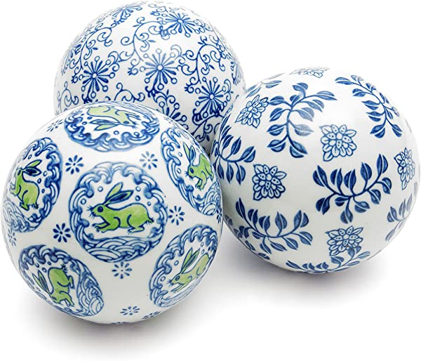 Oriental Furniture 4 Blue White Decorative Porcelain Ball Set