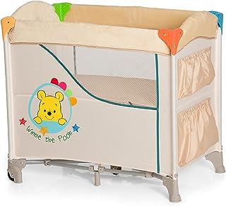 Hauck Disney Beistellbett Sleep N Care / Reisebett für Babys ab Geburt bis 9 kg / Rollen / Stauraum und Spielzeugtaschen / Kompakt Faltbar / Trage Tasche / Winnie the Pooh / Beige