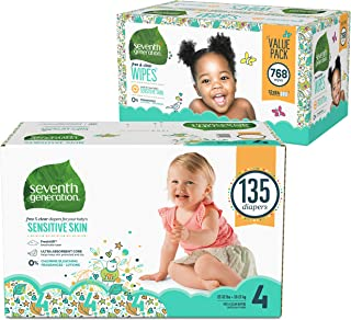 Seventh Generation Baby Diapers for Sensitive Skin, Animal Prints, Size 4, 135 count (Packaging May Vary) and Baby Wipes, Free & Clear with Flip Top Dispenser, 768 count