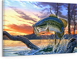 Prixas Print Large Mouth Bass Fish Canvas Wall Decor, Painting for Living Room Bedroom Gallery Wrapped, Blue 20x30 Inch