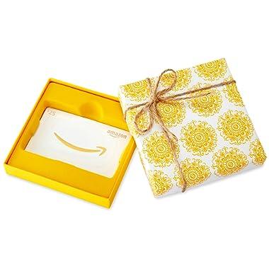 Amazon.com Gift Card in a Yellow Swirl Box