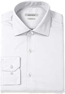 Perry Ellis Mens Slim Fit Wrinkle Free Solid Twill Dress Shirt with Adjustable Collar