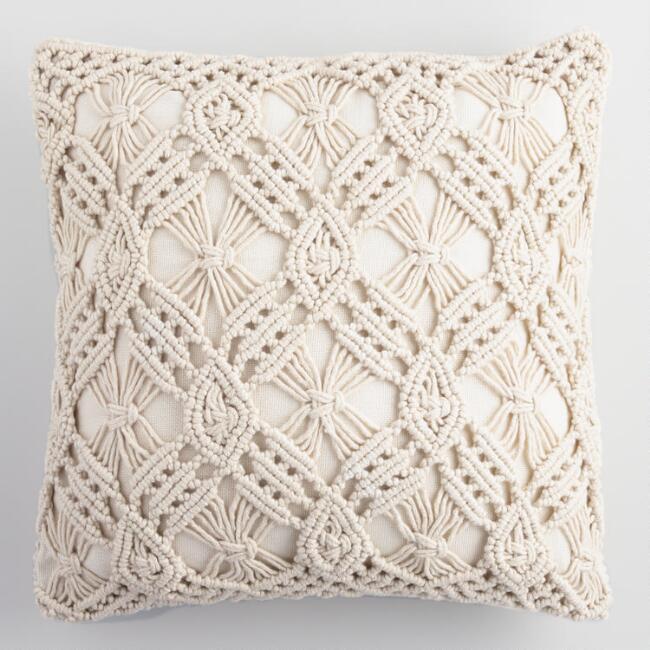 Natural Macrame Indoor Outdoor Throw Pillow | World Market