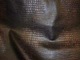 Crocodile Dark Black and Brown Color Embossed Upholstery Leather Vinyl Fabric