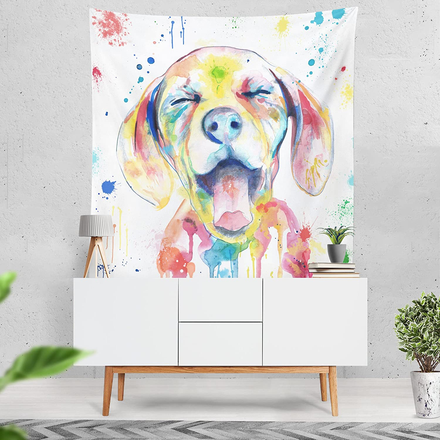 Lume.ly - Ditzy Dog colorful Large Wall Tapestry, Exclusive Vibrant Art Decor for Bedroom Living Room Dorm Wall Decor, Wall Hanging, Beach Tapestries (60x80 inches)