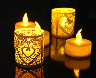 LED Tea Lights and Votive Wraps- 24pcs Flameless LED Tea Lights and 24pcs Champagne Laser Cut Decorative Wraps, Ideal for Wedding, Party , Holidays, Home Decoration and Outdoor
