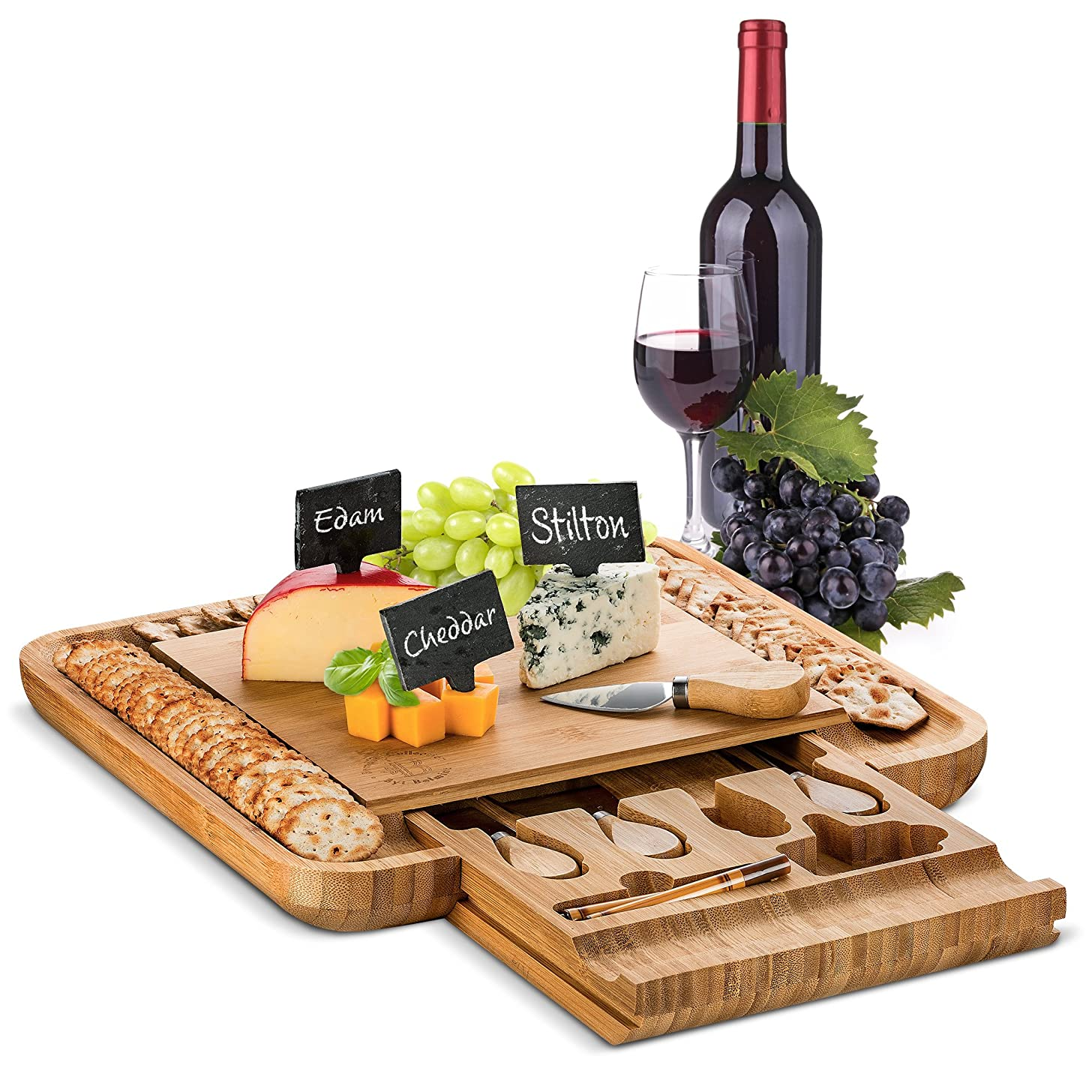 Bamboo Cheese Board with Cutlery Set - Wooden Charcuterie Tray Platter | Includes 4 Serving Utensils, 3 Labels & 2 Chalk Markers | Great Gift Idea