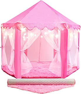 PLAYVIBE 55'' X 53'' Princess Tent for Kids - Includes Ultra Soft Rug & Star Lights | Princess Castle Little Girls Play Tent | Cool Mushroom House| for 3/4/5/6/7/8/9 Year Old | Kid Playhouse Toys