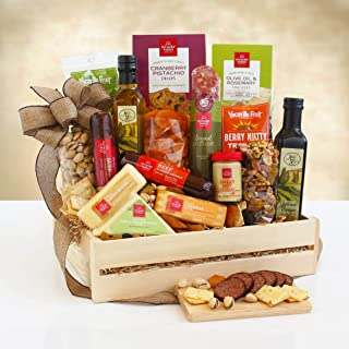 Meat and Cheese Gourmet Gift Assortment   Balsamic Vinegar, Olive Oil, Salami, Sausage, Cheese, Nuts and Dried Fruit by Gi...
