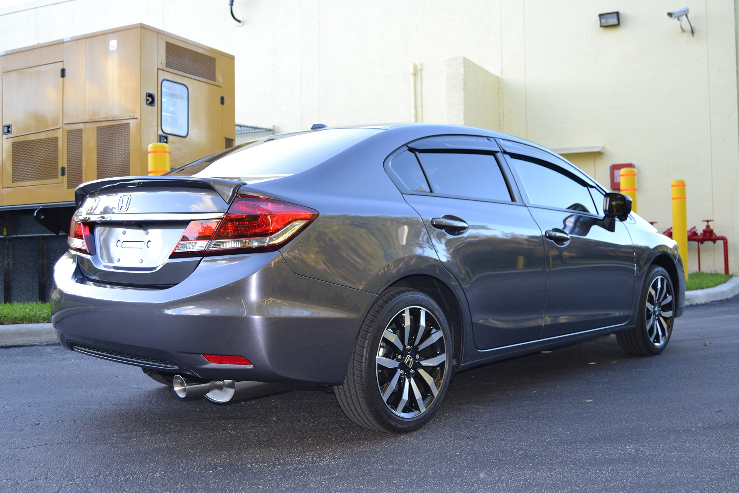 Yonaka Compatible with Honda Civic 2014-2015 4DR Sedan 2.5 Pipe Performance Catback Exhaust DX EX EX-L HF LX SE Touring