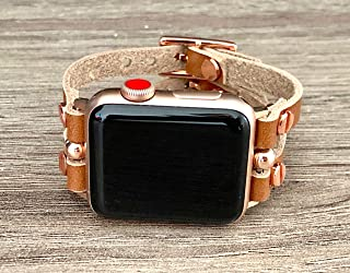 Bronze Brown Leather Bracelet for Apple Watch 38mm 40mm 42mm 44mm Band Double Slim Strap iWatch Band Series 1 2 3 4 Pink Rose Gold Women's Jewelry Resizable Wristband