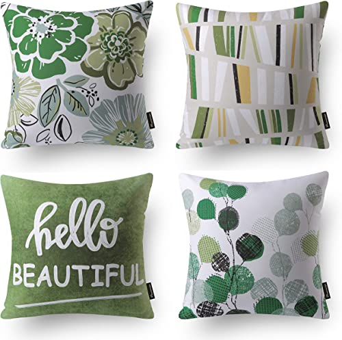 lowest Phantoscope Decorative Set of 4 Jesse Series Sweet Home Throw Pillow 2021 Case online Cushion Cover Green 18 x 18 inches 45 x 45 cm outlet online sale