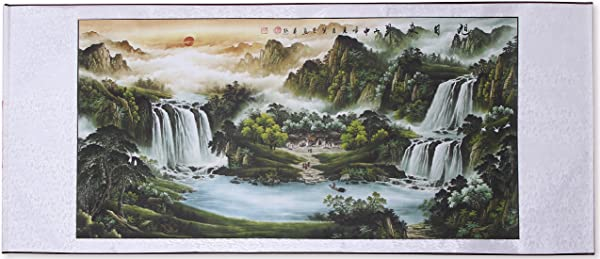 Large Size Feng Shui Painting Treasure Basin Hand Mounted Wall Scroll Painting Ready To Hang Office Living Room Decoration Attract Wealth And Good Luck 85 X 30