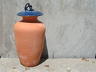 Olla Garden Irrigation Pot - 1.25 Gallon Terracotta Pot with Blue and Black Lid