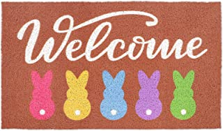 CiyvoLyeen 17x 30 Inches Easter Bunny Welcome Doormat Peeps Spring Gift Indoor Outdoor Home Front Porch Rugs Greetings Par...