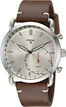 Fossil Men's Commuter Stainless Steel and Leather Hybrid Smartwatch, Color: Silver,..