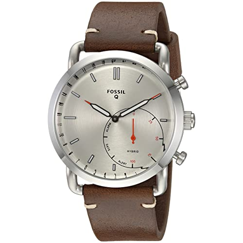 Fossil Mens Commuter Stainless Steel and Leather Hybrid Smartwatch, Color: Silver, Brown (