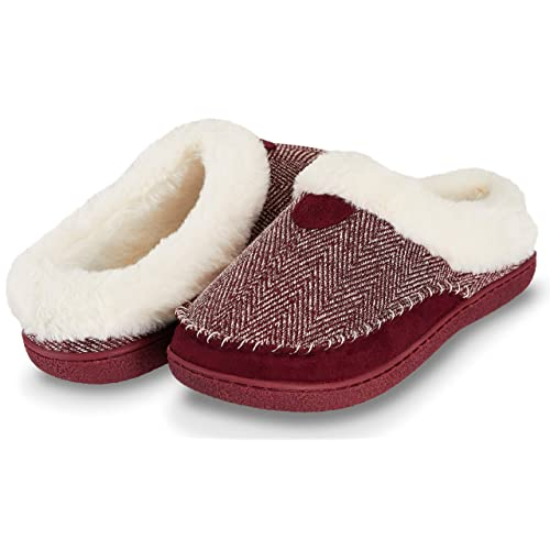 Floopi Womens Indoor Outdoor Herringbone Fur Lined Clog Slipper W/Memory Foam