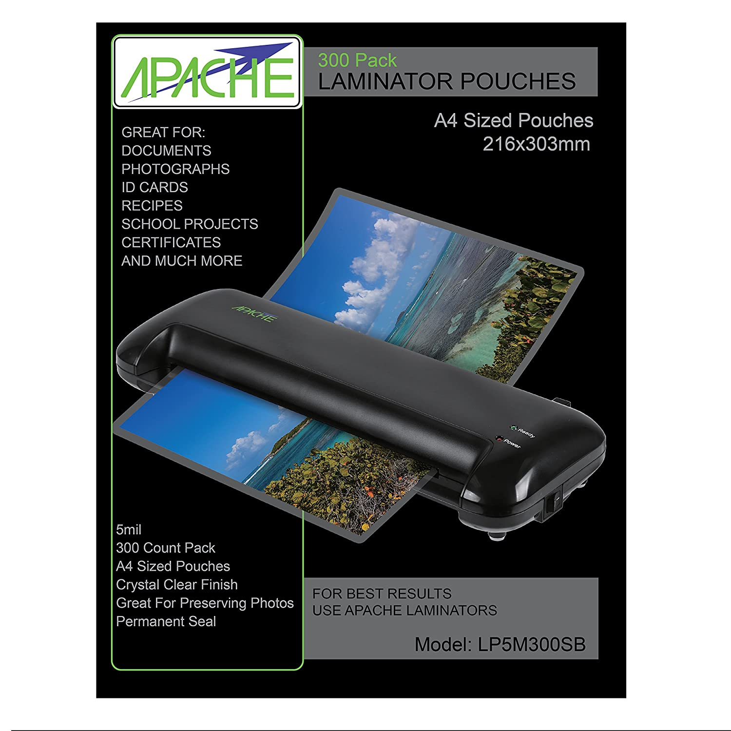Apache Laminating Pouches, 5 mil (5mil, Letter, 300 Pack)