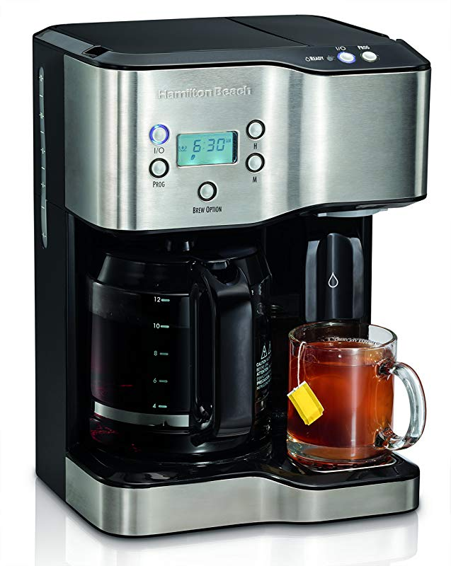 Hamilton Beach 49982 Programmable Coffee Maker Hot Water Dispenser 2 Way Black And Stainless