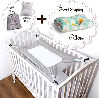 Baby Crib Hammock Mimics Womb - Newborn Sleeping Swing of Breathable, Soft Velvet Cotton. Enhances Baby's Comfort to Improve Sleep. Heavy Duty Buckles Bonus Laundry Bag and Head Shaping Pillow - Gray